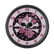 Girly Punk Skull Large Wall Clock