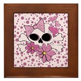 Girly Punk Skull Framed Tile