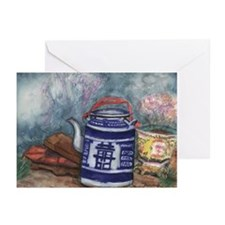 Blue Teapot II Greeting Cards (Pk of 10)