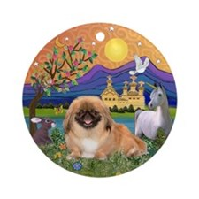Pekingese in Fantasy Land Ornament (Round)