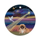 Pekingese and Christmas Star Ornament (Round)