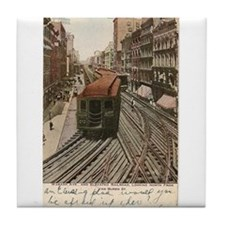 Vintage Chicago Elevated Railroad Tile Coaster