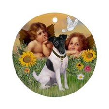 Angels and Smooth Fox Terrier Ornament (Round)