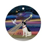 Christmas Star and Rat Terrier Ornament (Round)