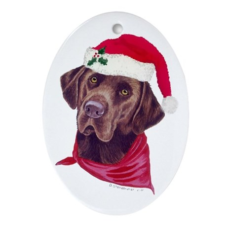 Chocolate Labs in Santa Hats Oval Ornament