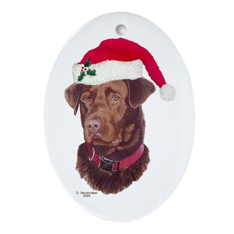 Chocolate Lab Christmas Oval Ornament