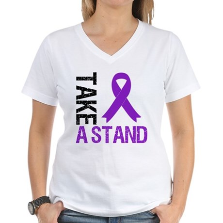 PancreaticCancer TakeAStand Women's V-Neck T-Shirt