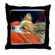 Papillon Sleepy Head Throw Pillow