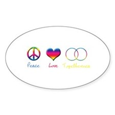 Peace Love Togetherness Oval Decal
