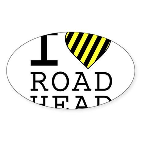 I Love Road Head Oval Sticker