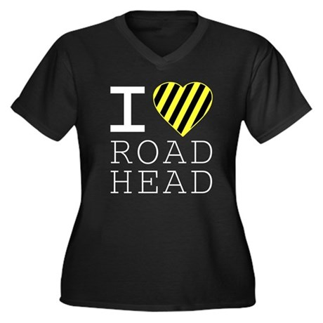 I Love Road Head Womens Plus Size V-Neck Dark T-S