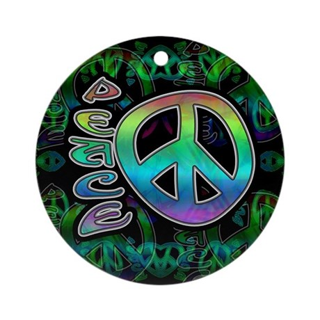 Rainbow Peace Ornament (Round)