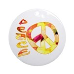 Flowery Orange Peace Ornament (Round)