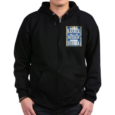 Jews For Barack Obama Zip Hoodie (dark)