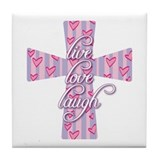Live Love Laugh Cross Tile Coaster