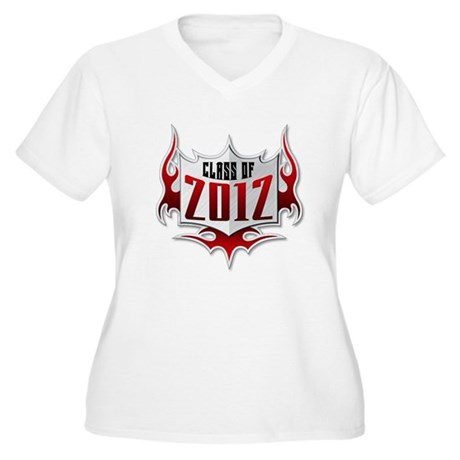 Class of 2012 Flames Women's Plus Size V-Neck T-Sh