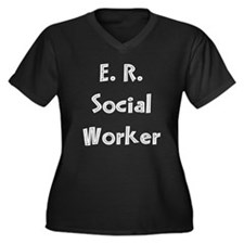 E.R. Social Worker Women's Plus Size V-Neck Dark T
