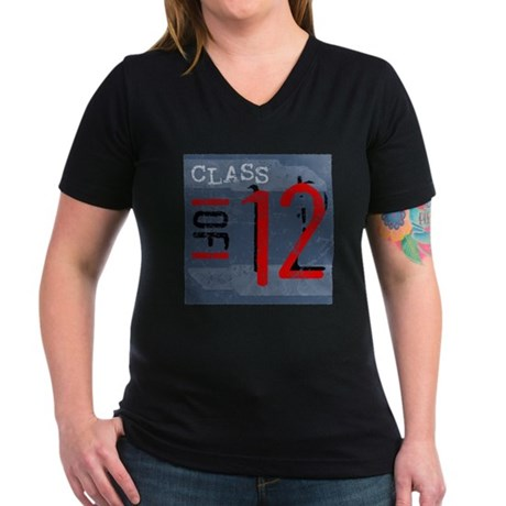 Class of 12 Grunge Women's V-Neck Dark T-Shirt