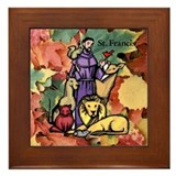 Saint Francis Leaves Framed Tile
