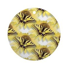 Yellow Swallowtail Butterfly Ornament (Round)