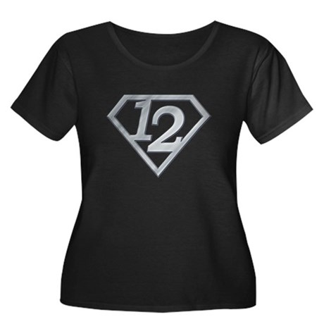 12 Superman Women's Plus Size Scoop Neck Dark T-Sh