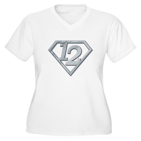 12 Superman Women's Plus Size V-Neck T-Shirt