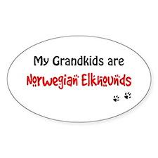 Elkhound Grandkids Oval Decal
