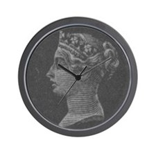 Charcoal QV portrait Wall Clock