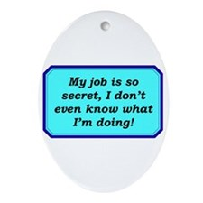 """Top Secret Job"" Oval Ornament"