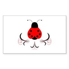 Cute Artsy Ladybug Rectangle Sticker 10 pk)