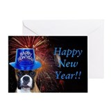 New Years Boxer Greeting Card