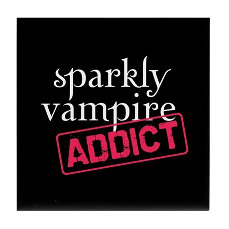 Sparkly Vampire Addict Tile Coaster