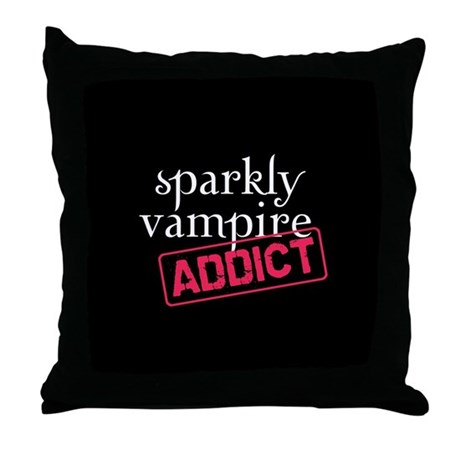 Sparkly Vampire Addict Throw Pillow