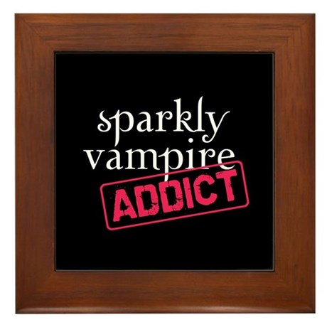Sparkly Vampire Addict Framed Tile