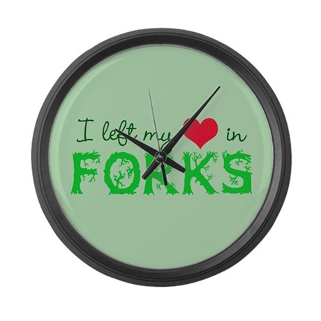 I Heart Forks Large Wall Clock