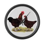 Dk Red Broiler Chickens Large Wall Clock
