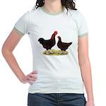 Dk Red Broiler Chickens Jr. Ringer T-Shirt