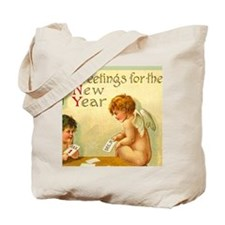 New Year Angel Cherub BIG Canvas Gift Tote Bag
