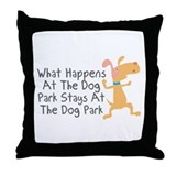 What Happens At Dog Park Throw Pillow