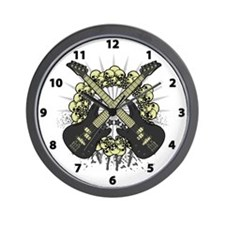 Guitars Skulls Wall Clock