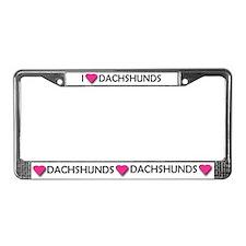 I LUV DACHSHUNDS License Plate Frame