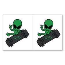 Alien Skateboarder Sticker (Rect.)