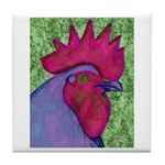 Red/Purple Rooster Tile Coaster