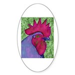 Red/Purple Rooster Oval Sticker