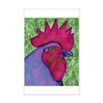 Red/Purple Rooster Mini Poster Print