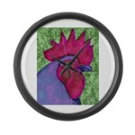 Red/Purple Rooster Large Wall Clock