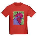 Red/Purple Rooster Kids Dark T-Shirt