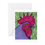 Red/Purple Rooster Greeting Cards (Pk of 10)