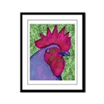 Red/Purple Rooster Framed Panel Print