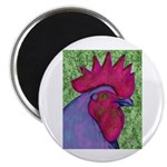 """Red/Purple Rooster 2.25"""" Magnet (100 pack)"""
